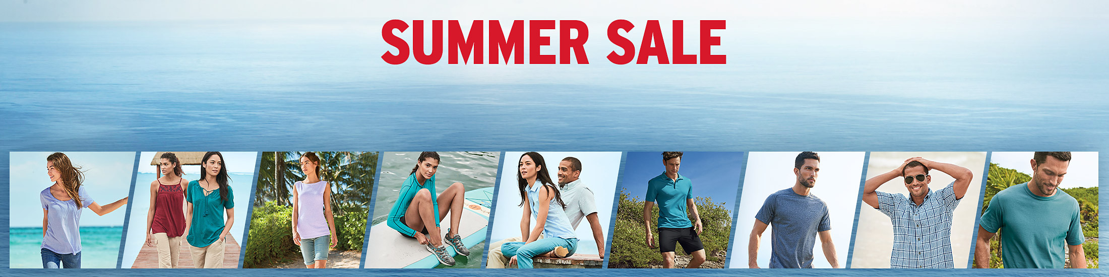 Different images of summer sale tops, shorts, shirts, and pants