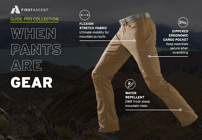 Image of Guide Pro Pants calling out technical features