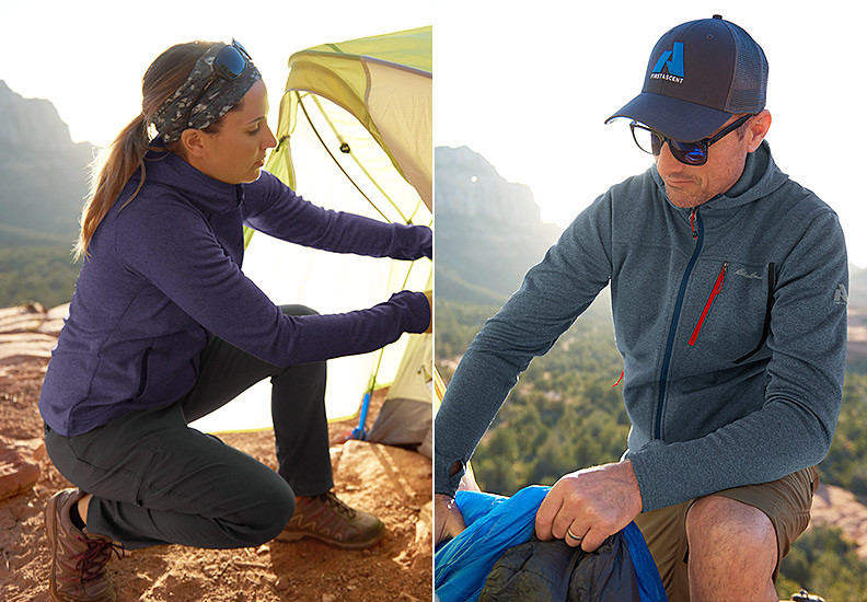 Eddie Bauer alpine climbing guides Melissa Arnot Reid and Seth Waterfall set up camp