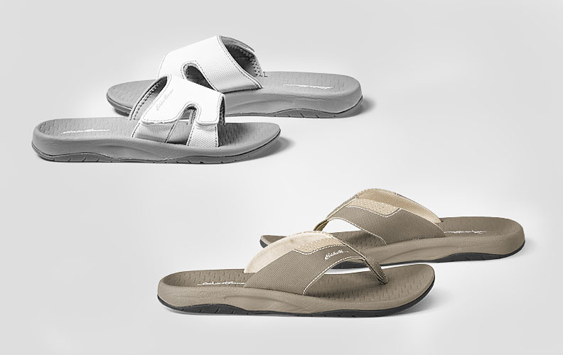 Different colors and styles of sandals and flip-flops