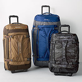 Different sizes and colors of Expedition rolling duffels