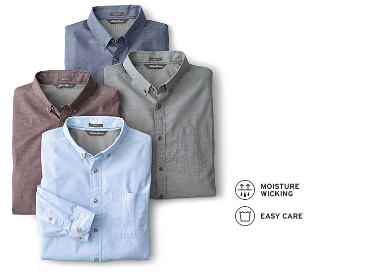 Image of long-sleeve shirt on man plus folded shirts in multiple colors.
