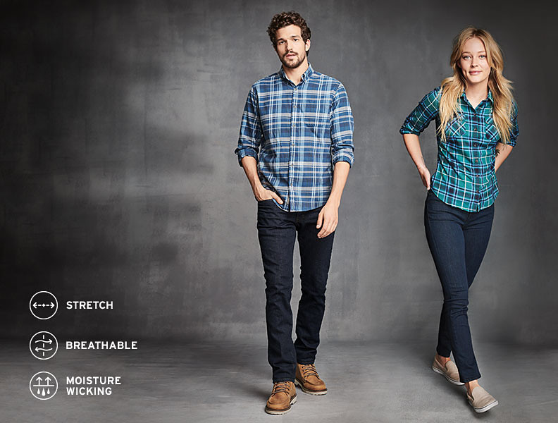 Image of man and woman modeling jeans