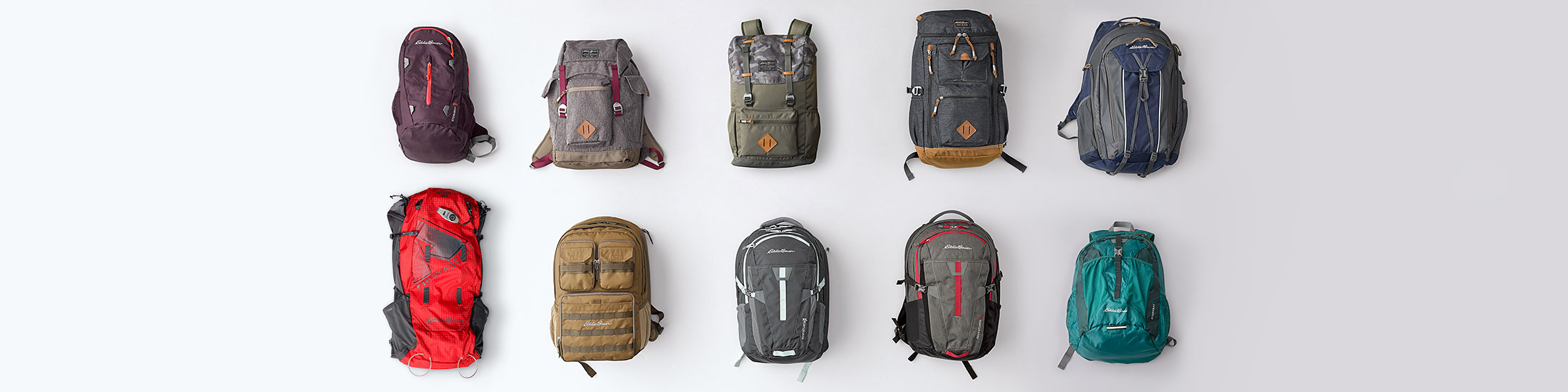 Different styles and colors of backpacks
