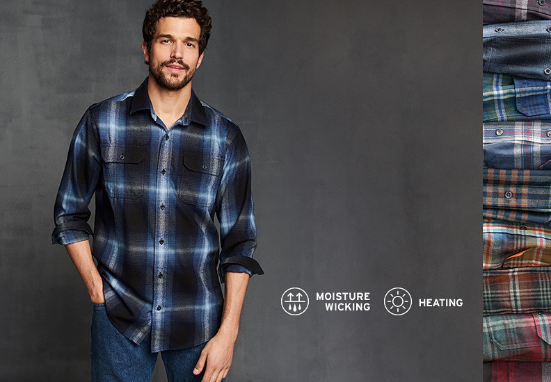 Man wearing Expedition Flannel Shirt with inset image showing variety of plaids available