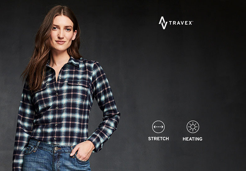 A woman wearing an Expedition Flannel shirt