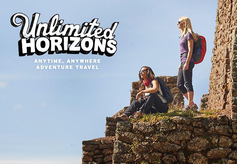 Two women wearing Horizon pants and capris explore ancient ruins in Peru