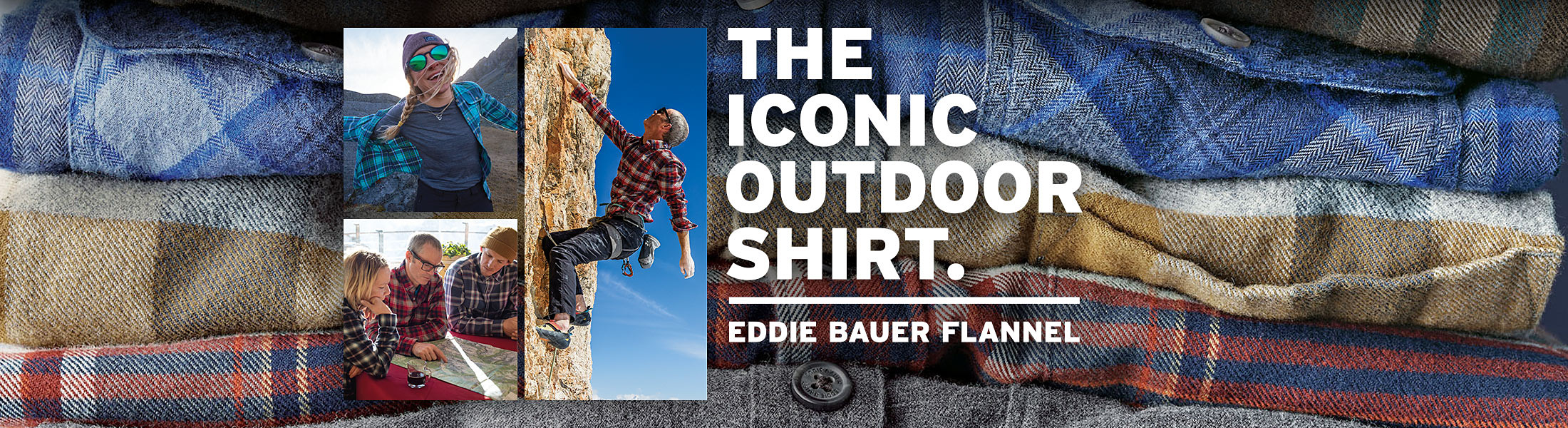 Eddie Bauerg athletes Ben Ditto and Lexi duPont, and guide Caroline George wearing Eddie Bauer flannel shirts