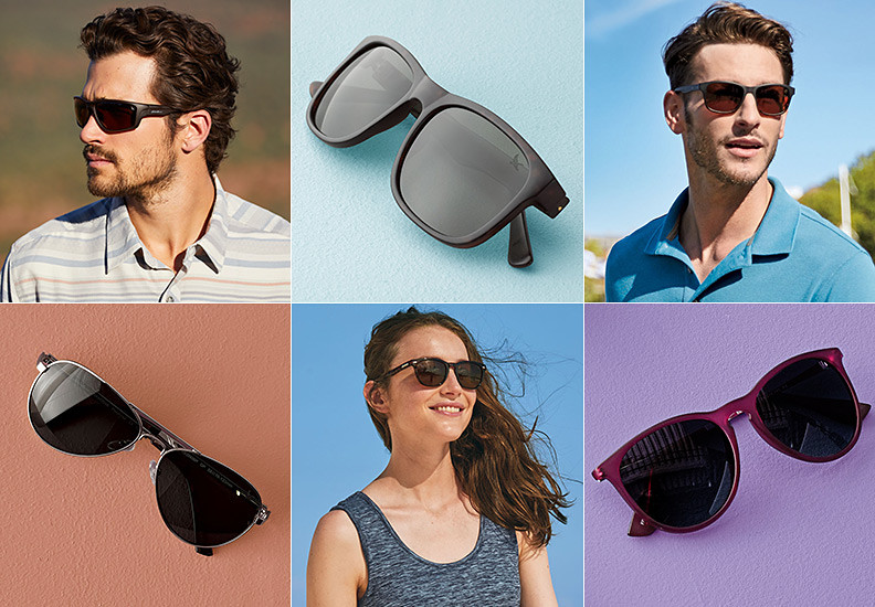 Collage of 3 different sunglass styles and portrait-style images of men & women wearing them.