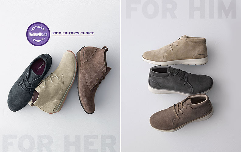 Women's and men's chukkas in 3 different colors each. Women's Health Editor's Choice Award shown with women's.