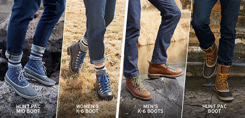 4 images of boots: separate shots of men's and womens Hunt Pac and K-6 boots.