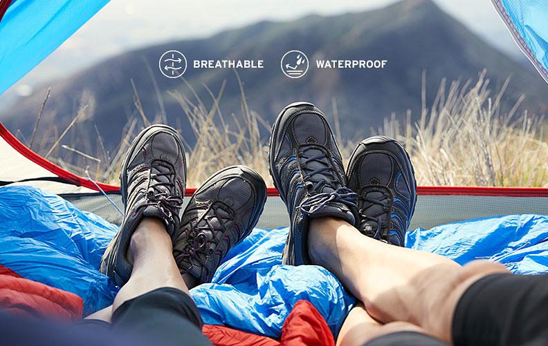 Two campers wearing Lukla Pro Waterproof hiking shoes