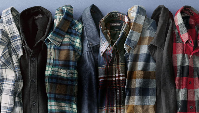 Eddie Bauer Favorite Flannel shirts shown in a variety of plaids