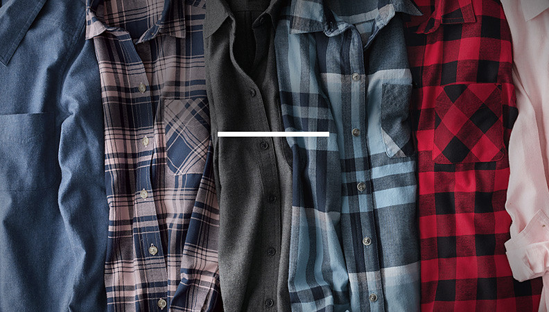 Different colors and patterns of the Stine's Favorite Boyfriend Flannel Shirt