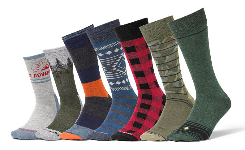 Different colors and styles of patterned socks