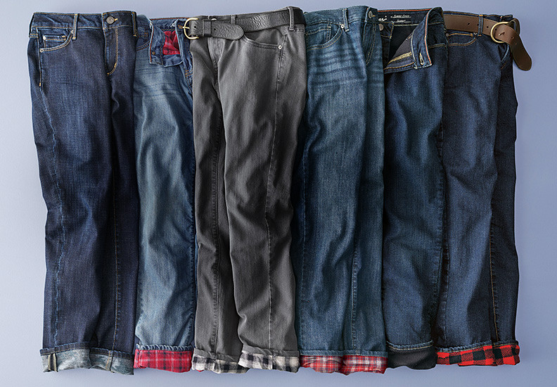 Different styles and colors of flannel and fleece lined jeans