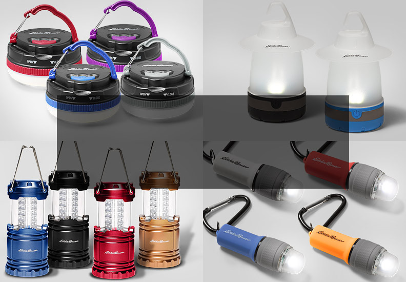 Collage of flashlights, LED lanterns, hanging lights and table lights.