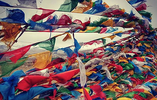 Image of prayer flags near basecamp