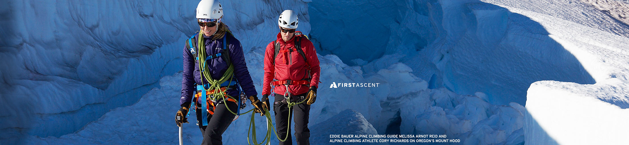 Eddie Bauer alpine climbing guide Melissa Arnot Reid and  alpine climbing athlete Cory Richards on Oregon's Mount Hood