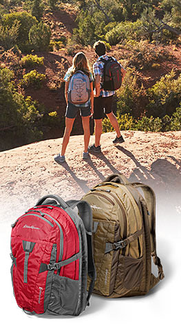 Adventurer packs inset over image of woman & man hiking