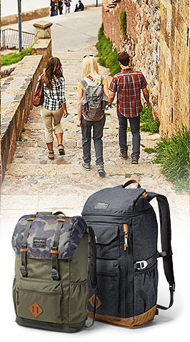 Two Bygone packs inset over image of 3 travelers exploring a unique destination