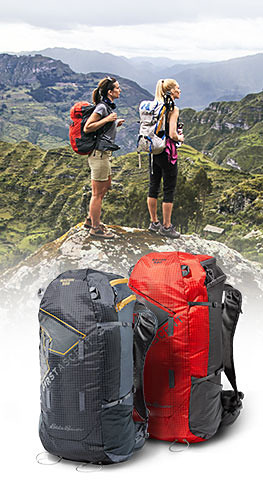 Two technical packs inset over image of 2 women hiking in a rugged location