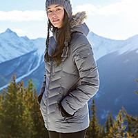 A woman wearing a parka