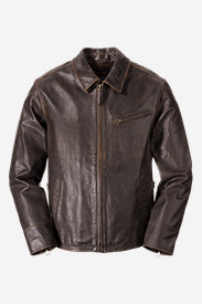 Brown Jackets for Men: Men's Leather Journeyman Bomber Jacket