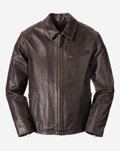 Men's Leather Journeyman Bomber Jacket