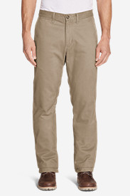 Brown Khaki Pants for Men: Men's Flannel-Lined Chinos