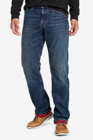 Stretch Jeans for Men: Men's Flannel-Lined Flex Jeans - Straight Fit