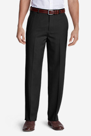 Black Big & Tall Trousers for Men: Men's Relaxed Fit Flat-Front Wool Gabardine Trousers