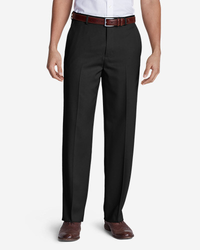 Black Dress Pants for Men: Men's Relaxed Fit Flat-Front Wool Gabardine Trousers