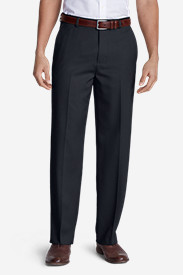 Tapered Dress Pants for Men: Men's Relaxed Fit Flat-Front Wool Gabardine Trousers