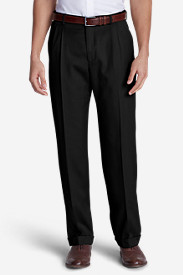 Black Big & Tall Trousers for Men: Men's Relaxed Fit Pleated Wool Gabardine Trousers