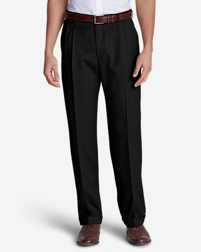 Black Dress Pants for Men: Men's Relaxed Fit Pleated Wool Gabardine Trousers