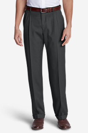 Men's Relaxed Fit Pleated Wool Gabardine Trousers