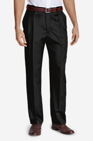 Black Big & Tall Trousers for Men: Men's Relaxed Fit Pleated Comfort Waist Wool Gabardine Trousers