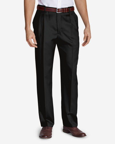 Black Dress Pants for Men: Men's Relaxed Fit Pleated Comfort Waist Wool Gabardine Trousers