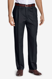 Relaxed Fit Dress Pants for Men: Men's Relaxed Fit Pleated Comfort Waist Wool Gabardine Trousers