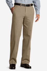 Pre-Hemmed Wrinkle-Free Relaxed Fit Flat-Front Performance Dress Khaki Pants