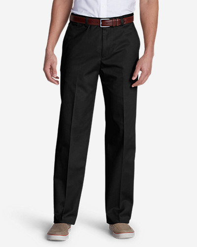 Black Dress Pants for Men: Men's Performance Dress Flat-Front Khaki Pants - Classic Fit