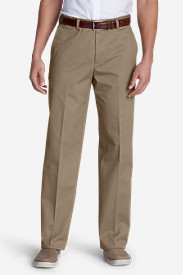 Cotton Pants for Men: Men's Performance Dress Flat-Front Khaki Pants - Classic Fit