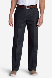 Blue Khaki Pants for Men: Men's Performance Dress Flat-Front Khaki Pants - Classic Fit