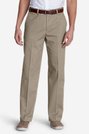 White Pants for Men: Men's Performance Dress Flat-Front Khaki Pants - Classic Fit