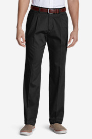 Black Big & Tall Trousers for Men: Men's Performance Dress Pleated Khaki Pants - Classic Fit