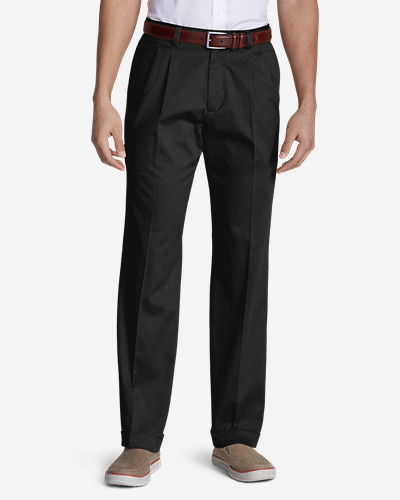 Black Dress Pants for Men: Men's Performance Dress Pleated Khaki Pants - Classic Fit