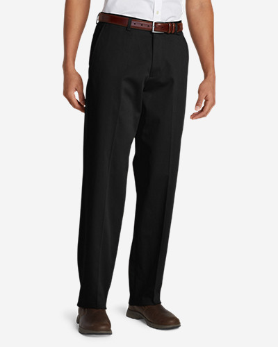 Black Dress Pants for Men: Men's Performance Dress Flat-Front Khaki Pants - Relaxed Fit