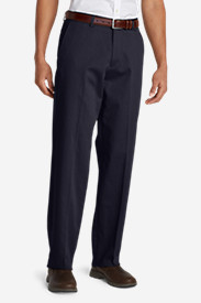Blue Khaki Pants for Men: Men's Performance Dress Flat-Front Khaki Pants - Relaxed Fit
