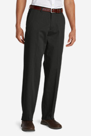 Dress Pants for Men: Men's Performance Dress Flat-Front Khaki Pants - Relaxed Fit